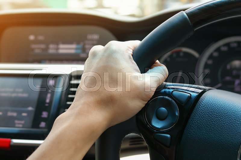 People journey drive vehicle car road trip travel in vacation summer holiday, hand driver chauffeur control steering wheel, stock photo