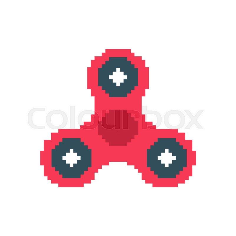 Spinner pixel art  Fidget finger toy     | Stock vector
