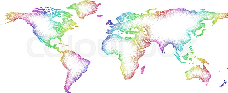 Rainbow Sketch World Map Design From Stock Vector Colourbox