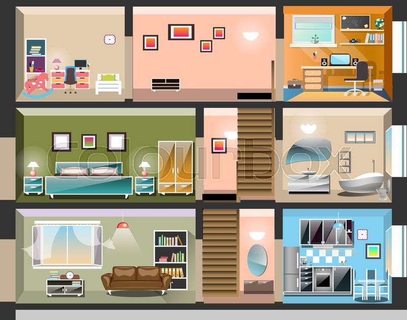 House Cross Section With Room Interiors Vector
