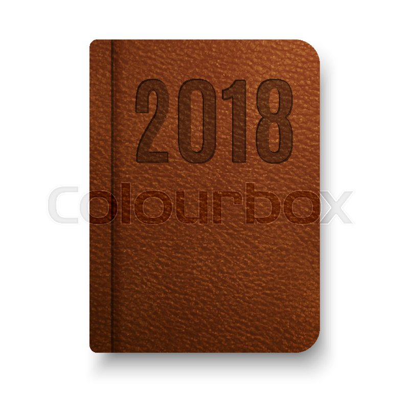 Realistic Brown Notebook With Black Elastic Band. Vector Notepad Mockup.  Top View Diary Vintage Template. Closed Diary For 2018 Year.  Diary Paper Template