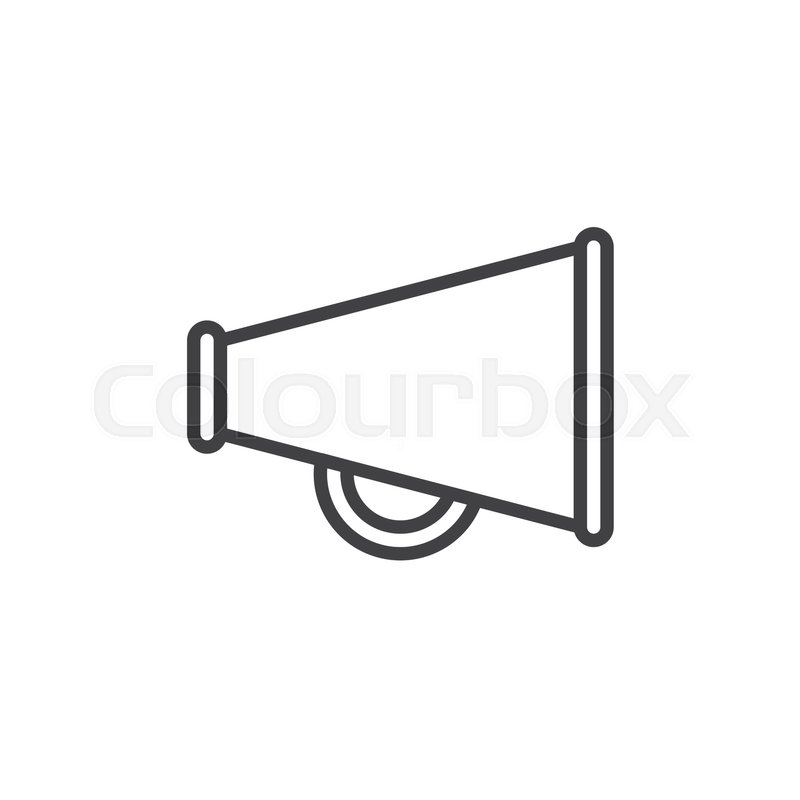Bullhorn line icon, outline vector sign, linear style pictogram ...
