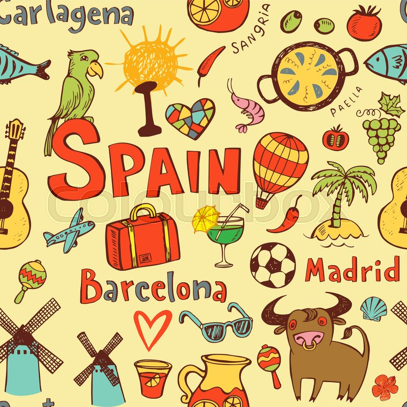 Seamless Background With Symbols Of Spain Catalonia Madrid