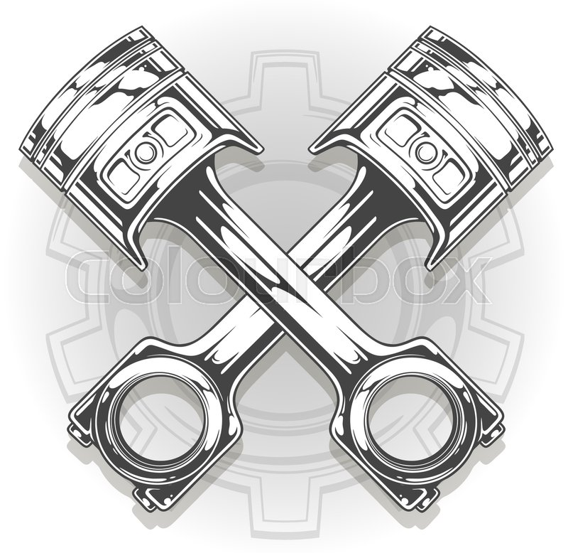 Double detailed graphic black car engine piston with metal gear ...