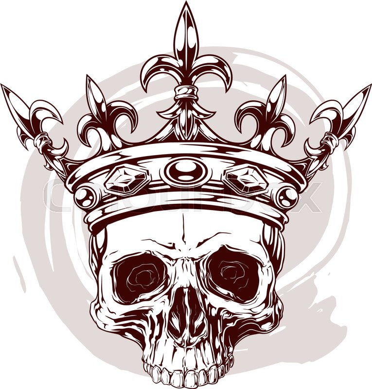 Graphic color human skull with royal lily king crown and diamonds on violet background vector
