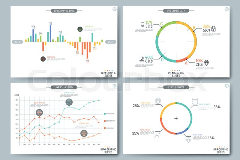 Minimal Infographic Brochure Template Pages With Diagram Graph And