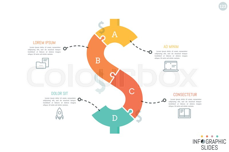 Jigsaw Puzzle In Shape Of Dollar Sign Divided Into 4 Pieces Minimal Infographic Design Layout Money Saving Monetary Policy Finance And Budget Planning