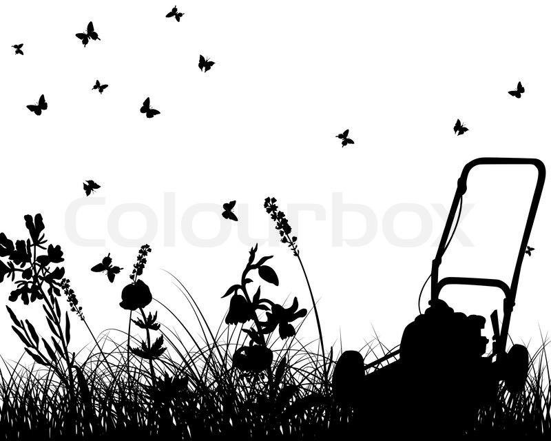 commercial lawn mower silhouette. vector grass silhouettes with mower all objects are separated | stock colourbox commercial lawn silhouette