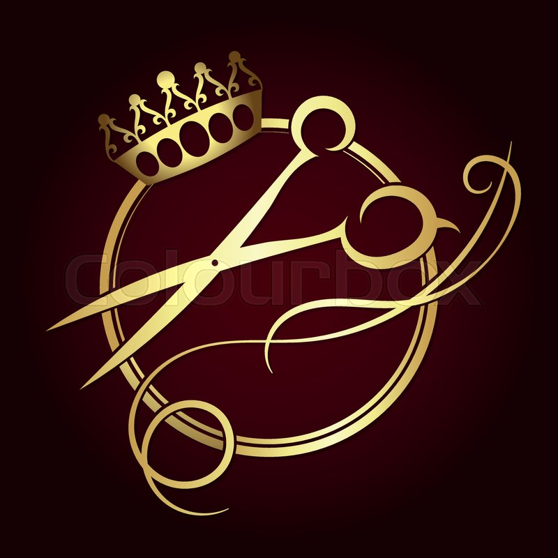 Scissors And A Crown Of Gold Color Symbol For Beauty Salon Stock