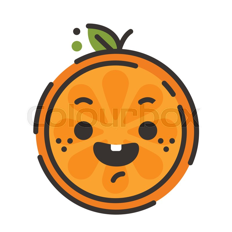 laugh emoji laughing orange fruit emoji vector flat design emoticon icon isolated on white background stock vector colourbox