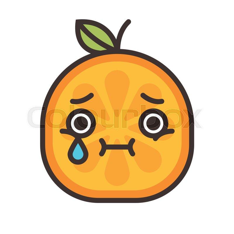 Tears Crying Emoji Orange Fruit With Vector Flat Design Emoticon Icon Isolated On White Background