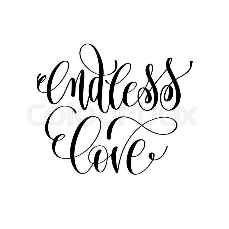 Endless Love Hand Lettering Romantic Stock Vector Colourbox