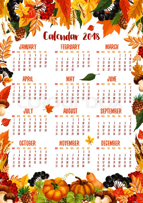 Autumn calendar 2018 template poster of falling maple, oak, aspen
