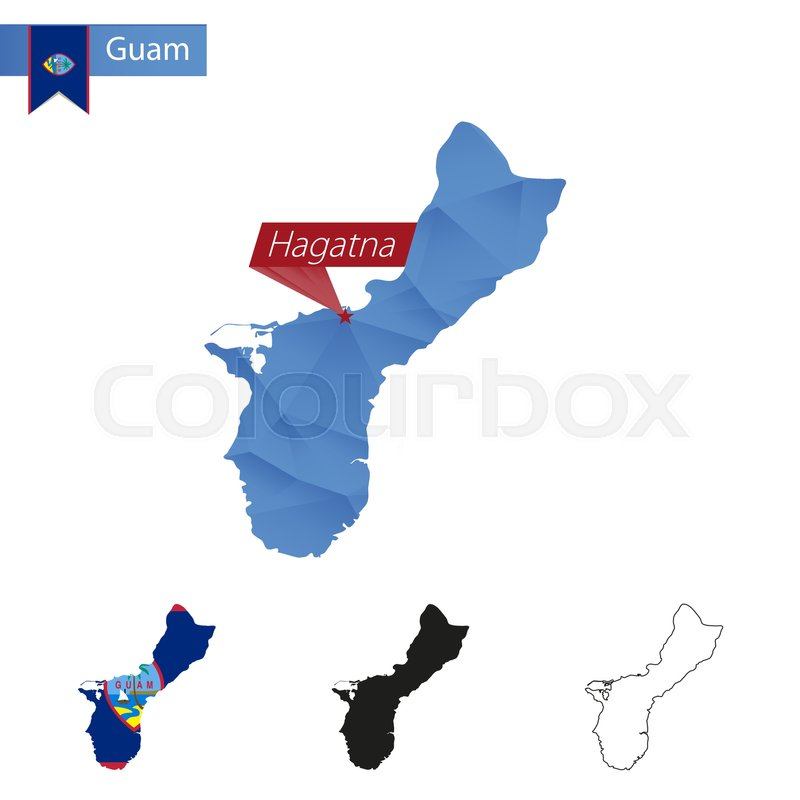 Guam blue Low Poly map with capital ... | Stock vector ...