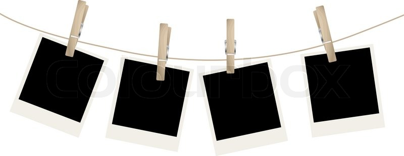 Photo Frames On The Rope Vector Illustration Stock