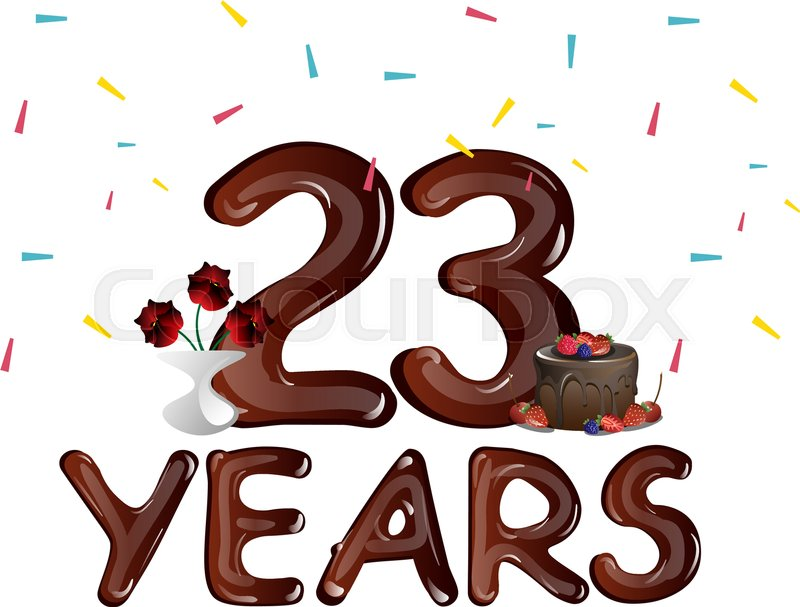 Happy Anniversary 23 Years With Cake Vector Illustration Stock