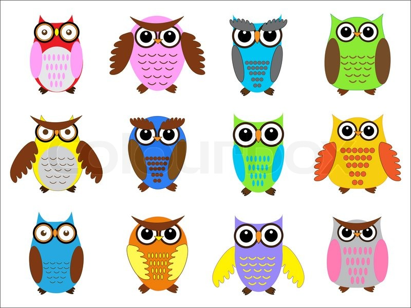 Set Color Owls Vector Illustration