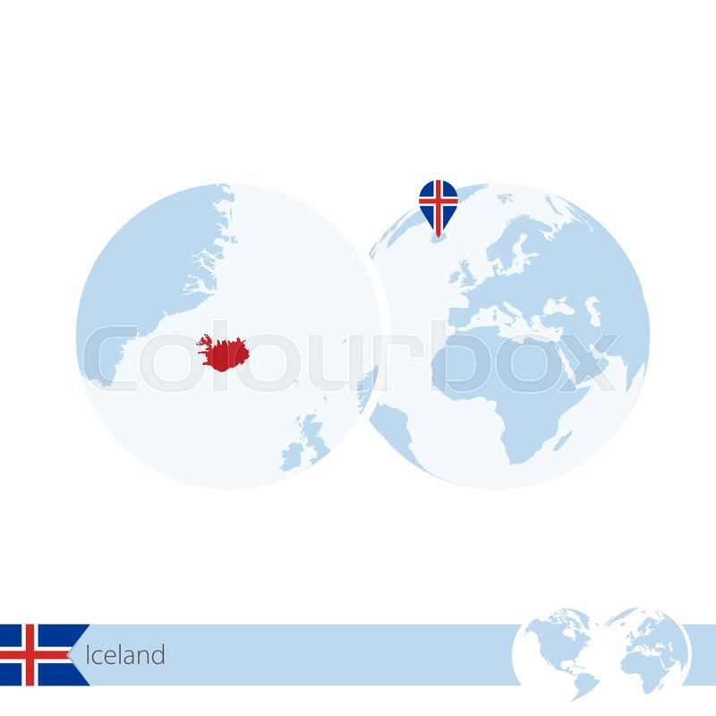 Iceland on world globe with flag and ... | Stock vector ... on iceland road map, iceland in the world map, iceland map with main rivers names, 3d iceland map, scandinavia denmark sweden norway map, iceland light show in january, iceland on a map, iceland reykjavik city center, north sea map, iceland on europe, iceland points of interest maps, iceland location in the world, iceland on the globe, iceland on us map, europe and siberia map, new zealand world map, iceland map europe, reykjavik iceland on map, iceland political map, mediterranean sea map,