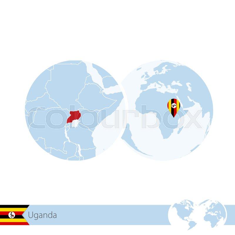 Uganda on world globe with flag and regional map of Uganda. Vector ...