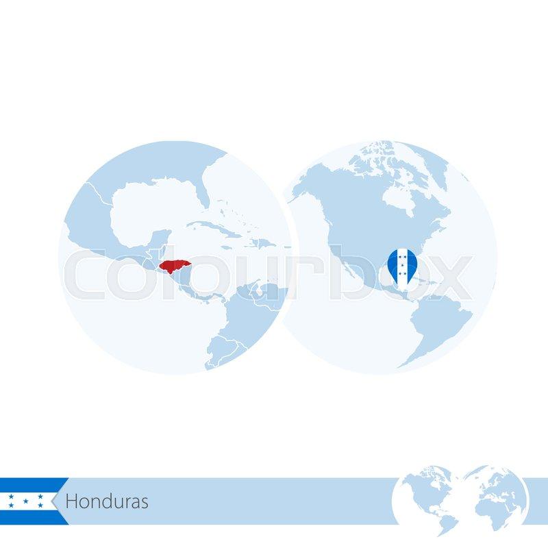 Honduras on world globe with flag and regional map of Honduras ...