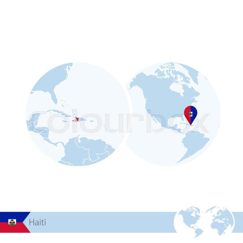 Haiti on world globe with flag and regional map of Haiti. Vector ...