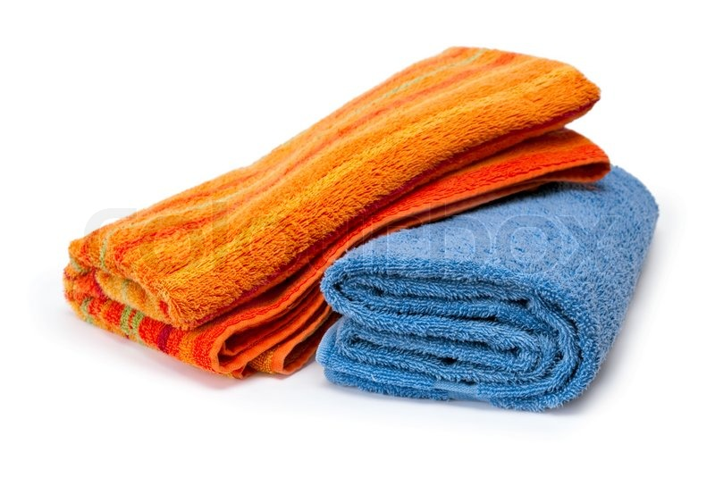 Two towels rolled up on a white background | Stock Photo ...