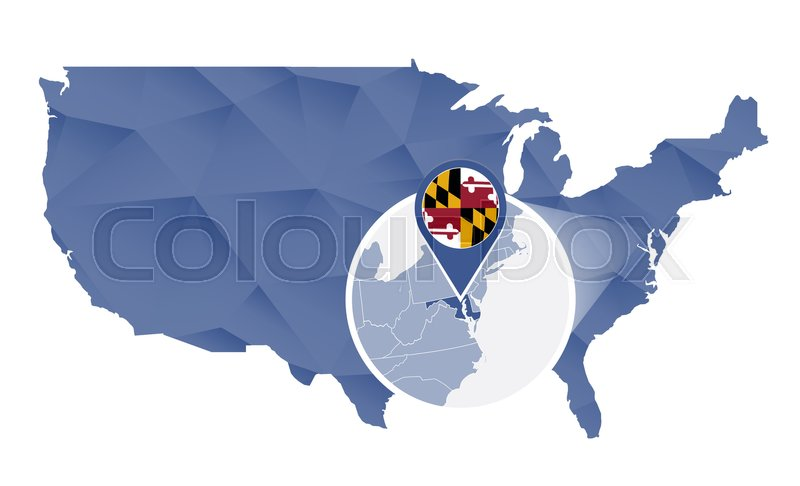 Maryland State Magnified On United States Map Abstract USA Map In - Us map maryland