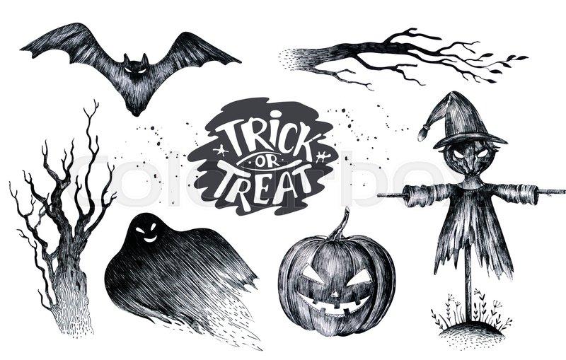 Halloween hand drawing black white graphic set icon, drawn ...