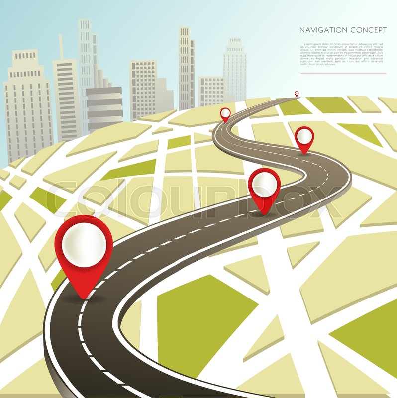 navigation map with location pins and car road route in city vector flat template for navigator application or travel destination directions stock vector