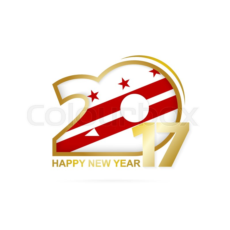 Year 2017 With District Of Columbia State Flag Pattern Happy New