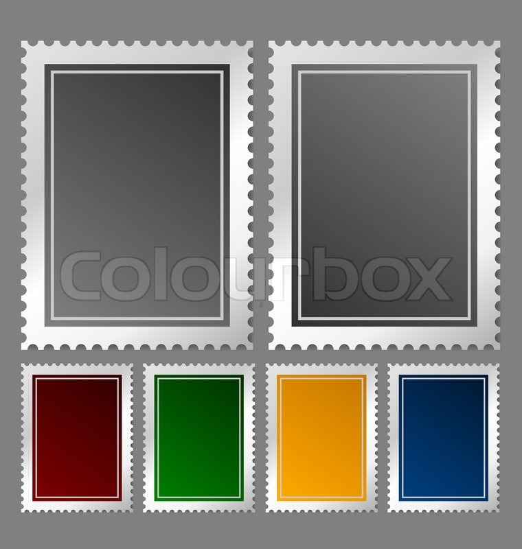 Postage Stamp Template In Various Color Variations  Stock Vector