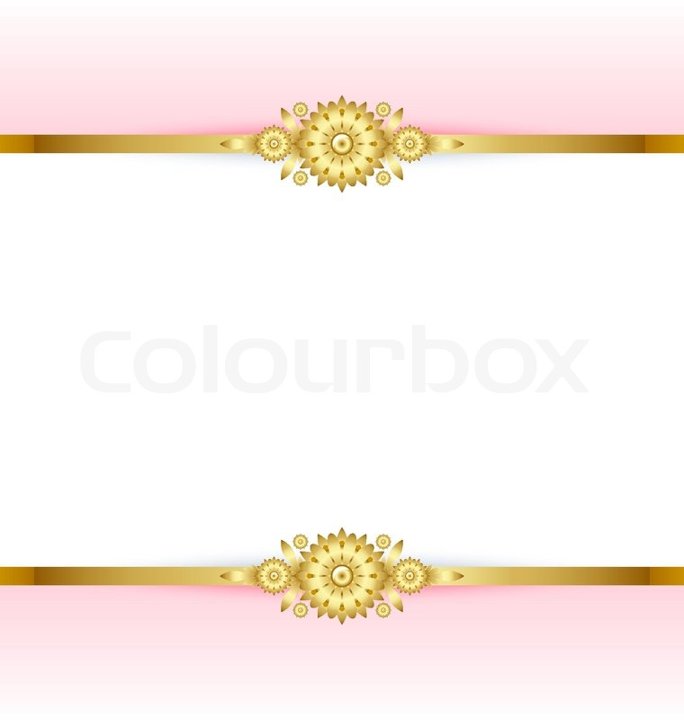 Document Template With Pink And Golden Floral Background Vector
