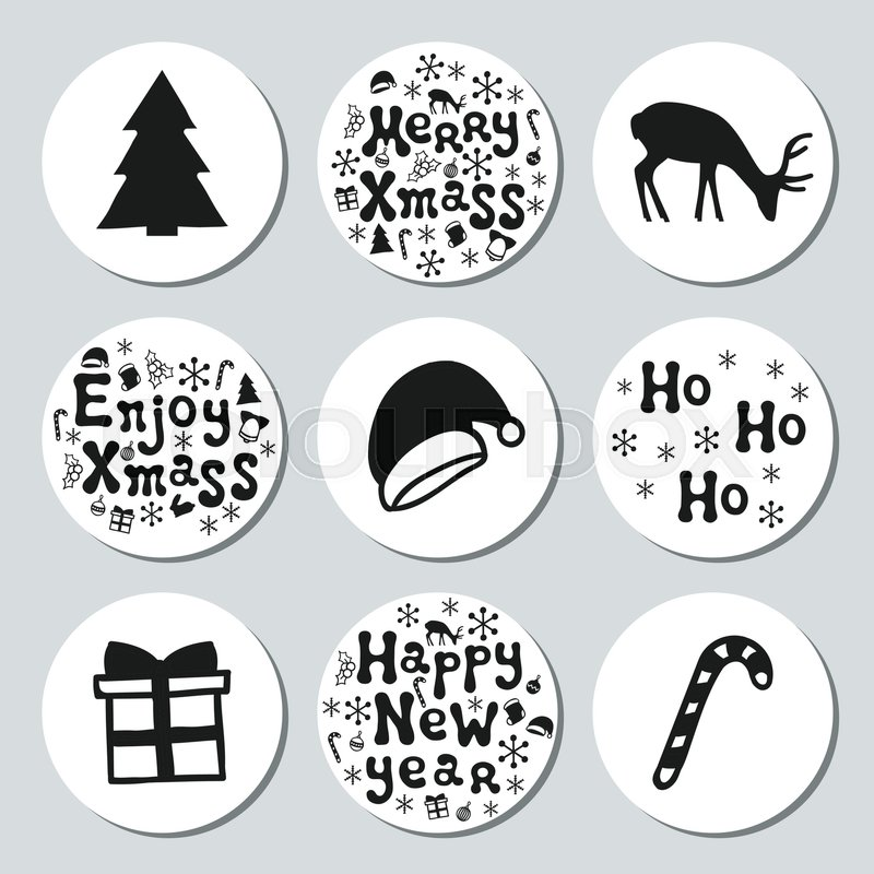 christmas new year gift round stickers labels xmas set hand drawn decorative element collection of holiday christmas stickers in black white texture
