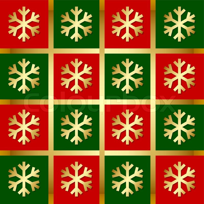 Golden snowflake pattern on red, green and gold background | Stock ...