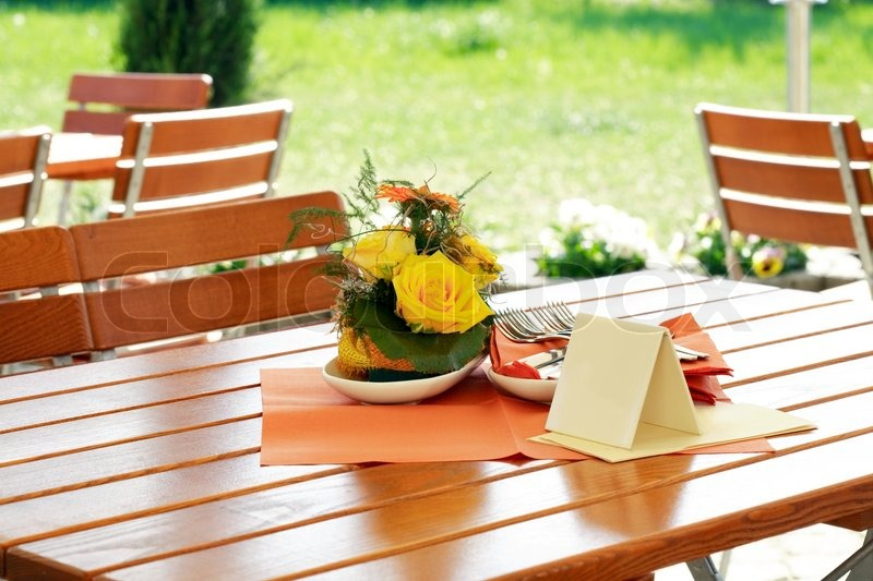 Table Setting In Outdoor Restaurant Stock Photo Colourbox