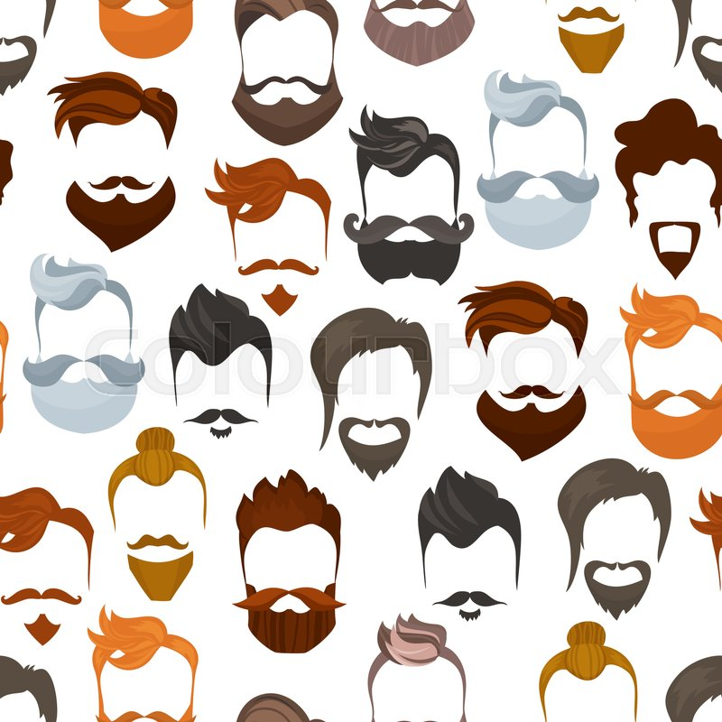 Seamless Pattern Of Men Cartoon Hairstyles With Beards And MustacheFashionable Stylish Types Lumbersexual Or Hipsters Silhouette Background