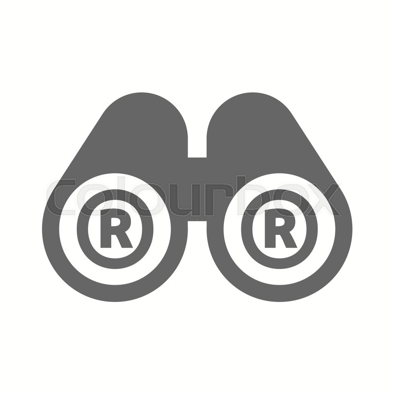 Illustration Of An Isolated Binoculars With The Registered Trademark