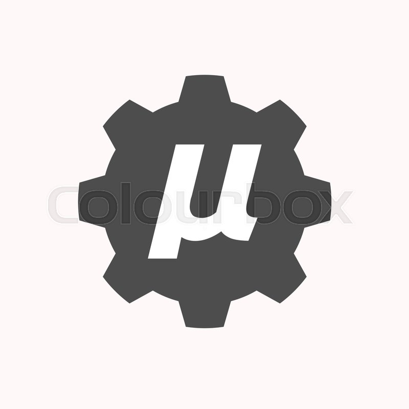 Illustration Of A Isolated Gear Cog With A Micro Sign Mu Greek