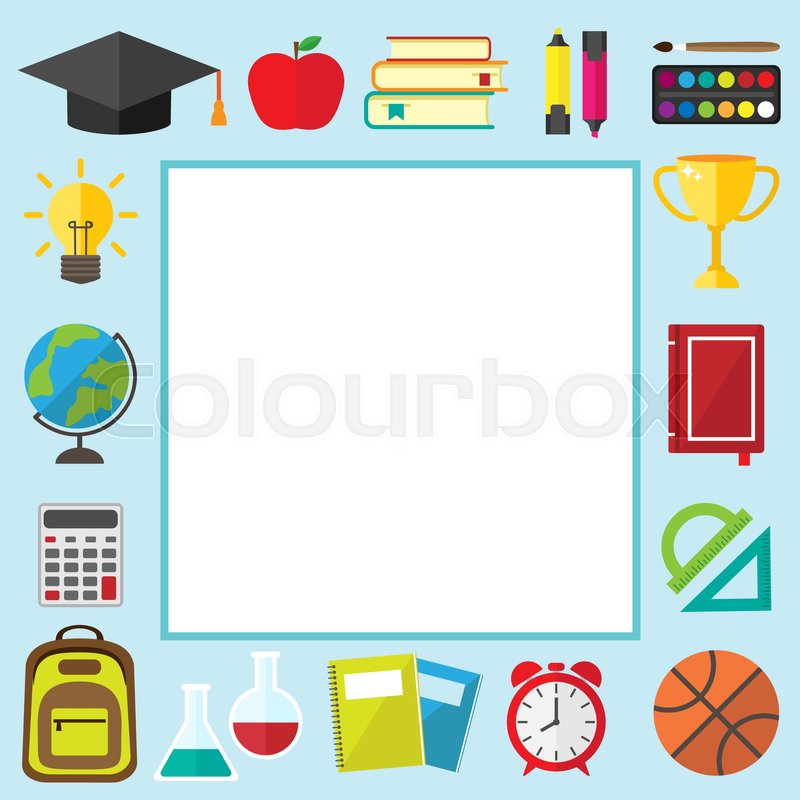 Back to school frame with place for text. Graduate hat, alarm clock ...