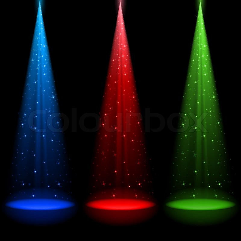 Three Conical Rgb Shafts Of Light Shines A Spotlight Into