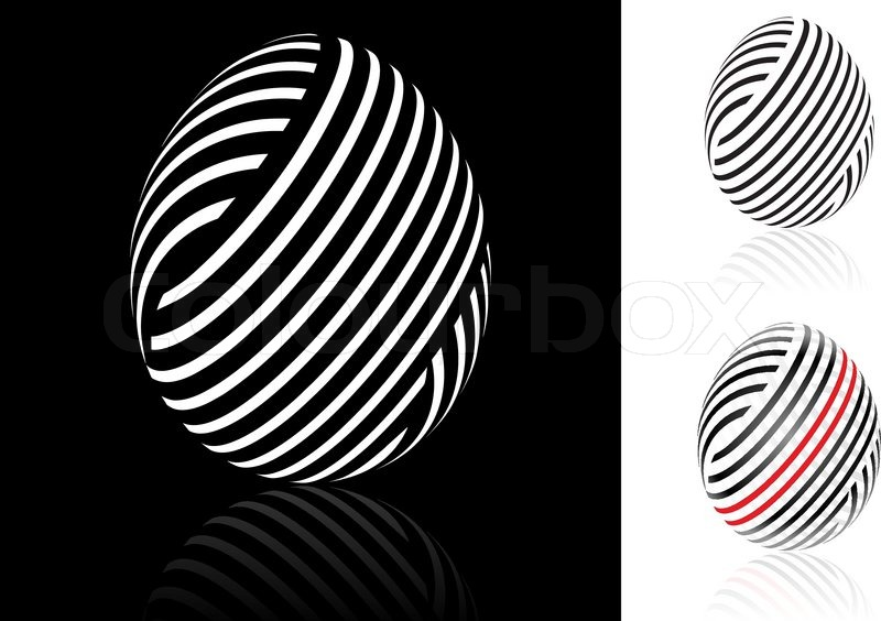Set Of Abstract Easter Egg With Black White And Red Stripes