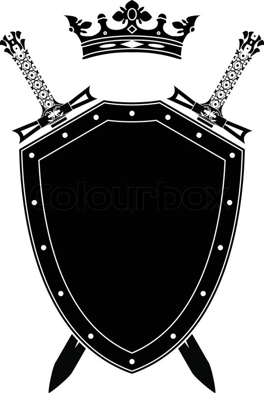 ... Silhouette shield , swords and crown. stencil. vector illustration