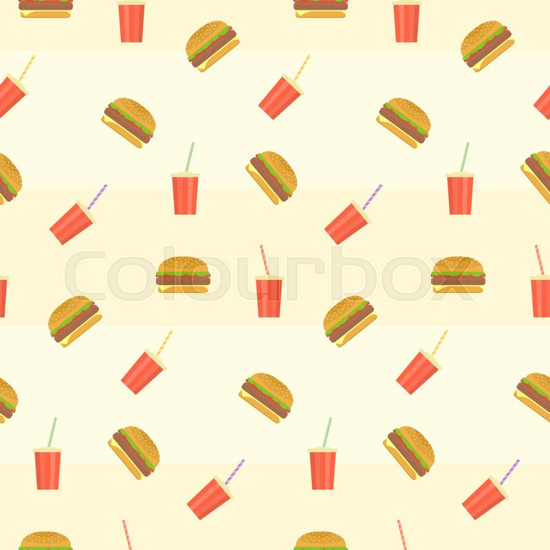 Cute Colorful Hamburgers Burgers And Red Plastic Drink Caps