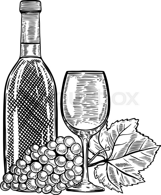 Stock Vector Of Vintage Wine Bottle With Grapes And Glass Design Elements For