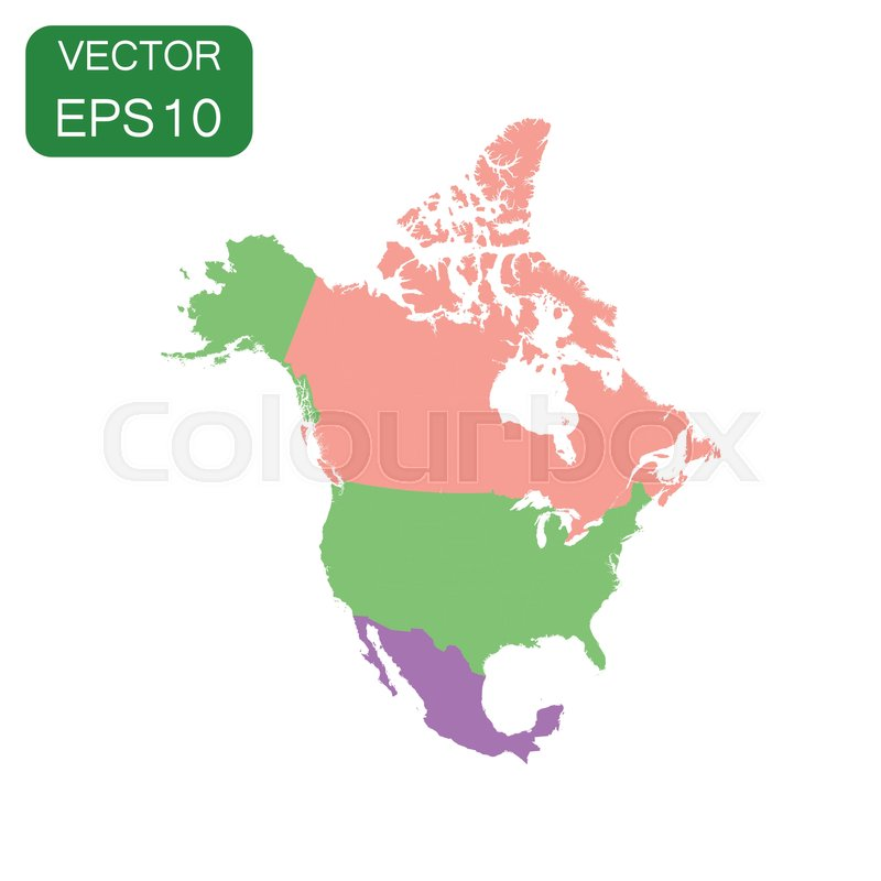 North America map icon Business cartography concept North America