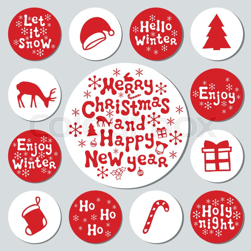 christmas new year gift round stickers labels xmas set hand drawn decorative element collection of holiday christmas stickers in red white texture