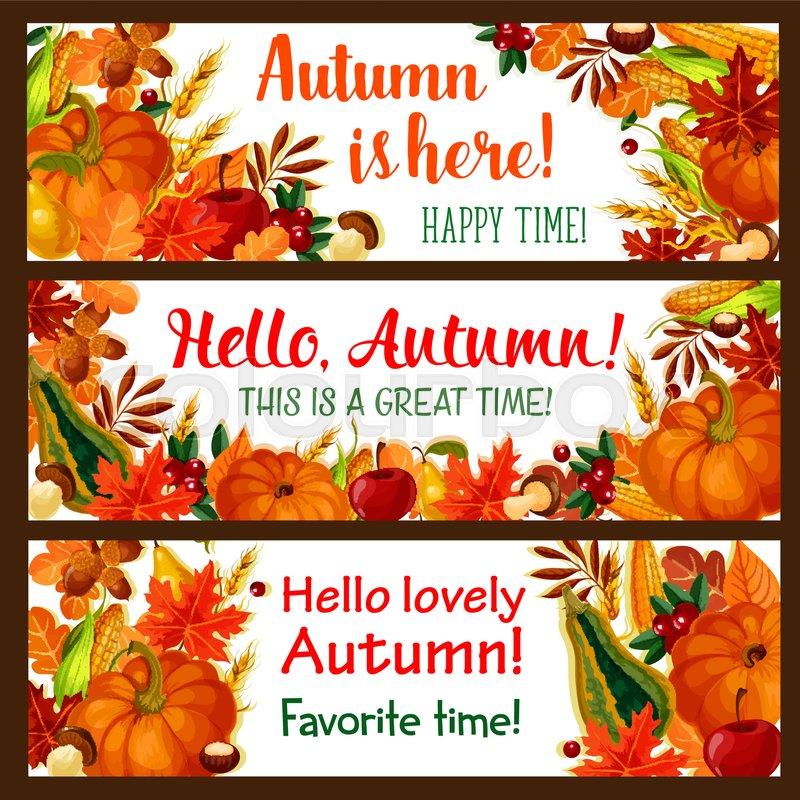 Hello Autumn Banner Set Of Fall Nature ...