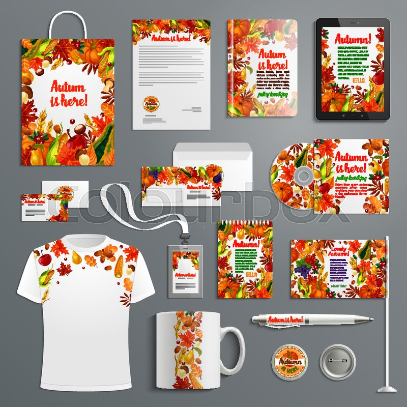 Corporate identity set with autumn season brand symbol fall leaf fall leaf harvest vegetable and fruit branding template of business card letterhead envelope folder document layout and branded stationery vector reheart Choice Image