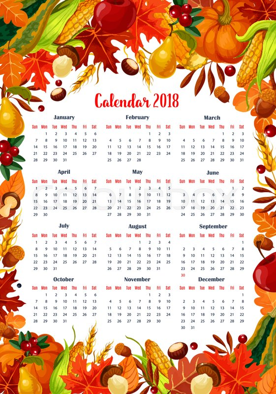 autumn seasonal calendar 2018 template vector design of maple leaf