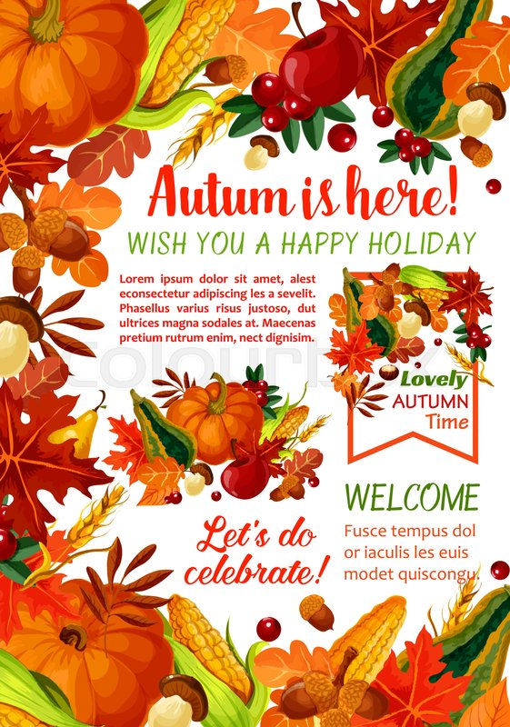 Happy Autumn holiday poster template. Fall season leaf, orange maple ...